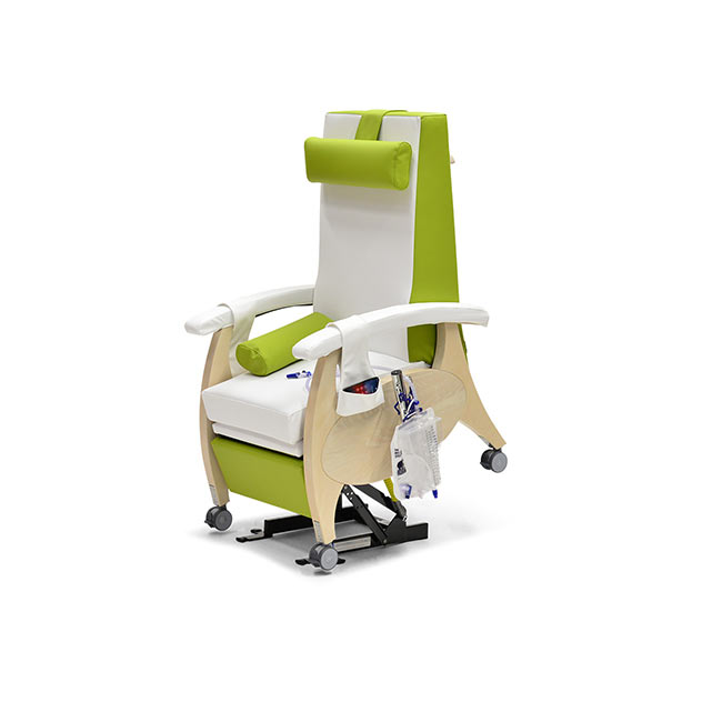 Pflegesessel MultiCare Wood 84513464R SiLeather weis limone td1 - MultiCare Wood Pflegesessel 84513