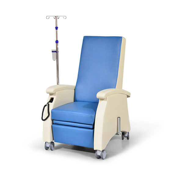Pflegesessel MultiCare 94509460R blau beige Infusionsstativ - Pflegesessel mit Doppelmotor