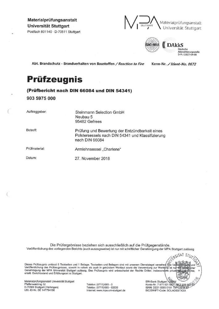 MPA Zertifikat Charlene Sitzgruppe S 60143110 0002 2019 10 1 4 7 1 - Zertifizierungen