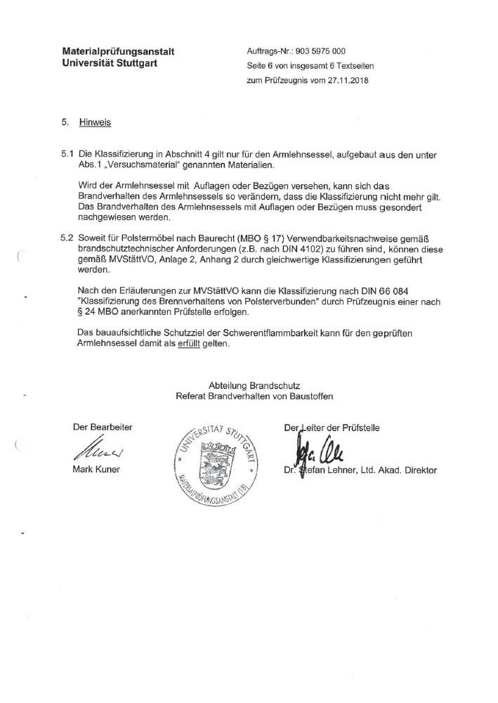 MPA Zertifikat Charlene Sitzgruppe S 60143110 0002 2019 10 1 4 7 4 - Zertifizierungen