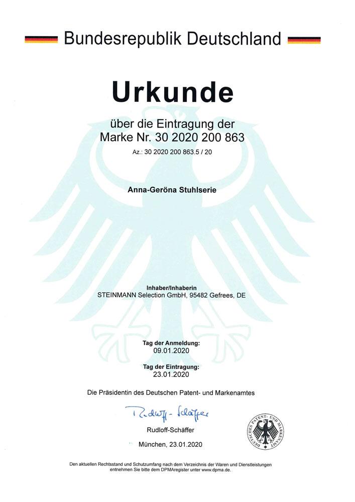 Patenturkunde Anna Geroena Stuhlserie 30 2020 200 863 - Patente