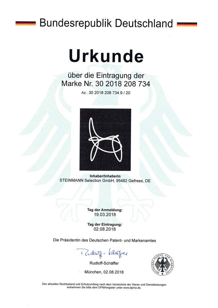 Patenturkunde ICON Steinmann Selection 30 2018 208 734 - Patente