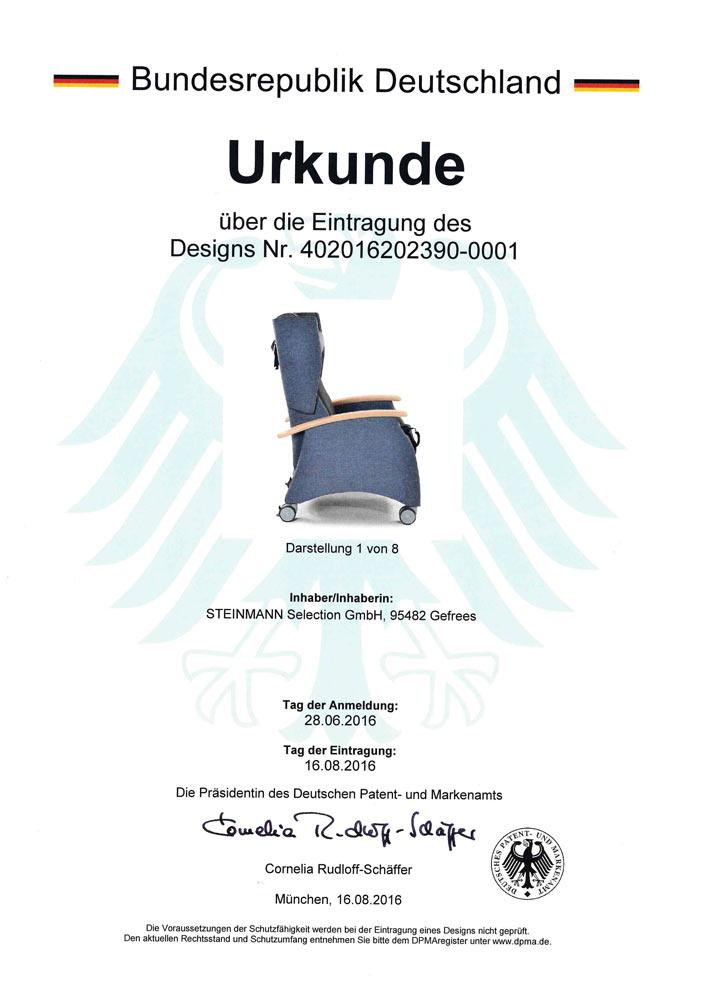 Patenturkunde MultiCare 402016202390 0001 - Patente