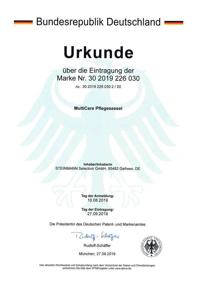 Patenturkunde MultiCare Pflegesessel 30 2019 226 030 - Patente