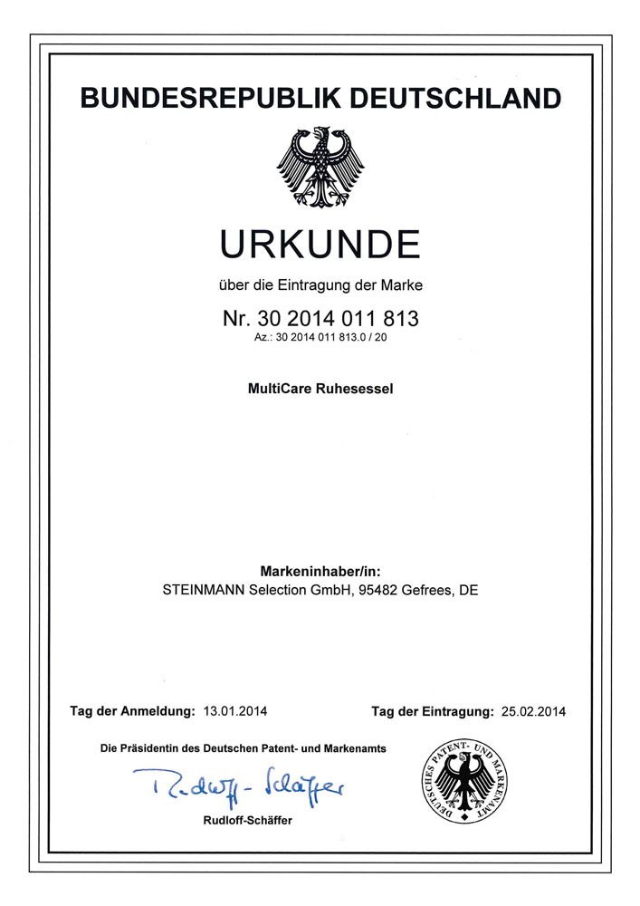 Patenturkunde MultiCare Ruhesessel 30 2014 011813 - Patente