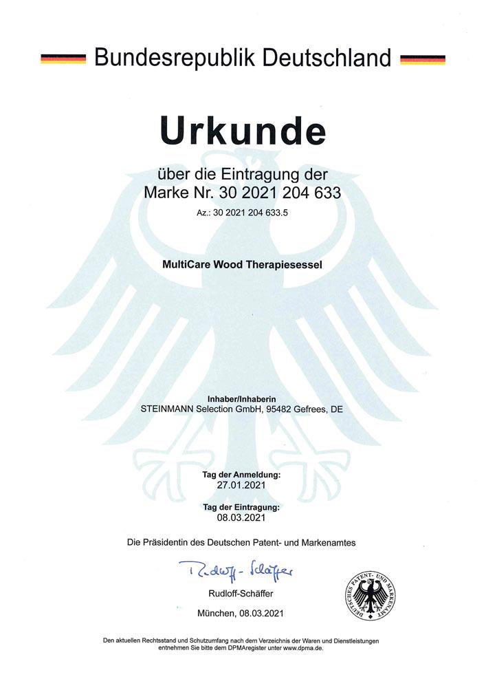 Patenturkunde MultiCare Wood Therapiesessel 30 2021 204 633 - Patente