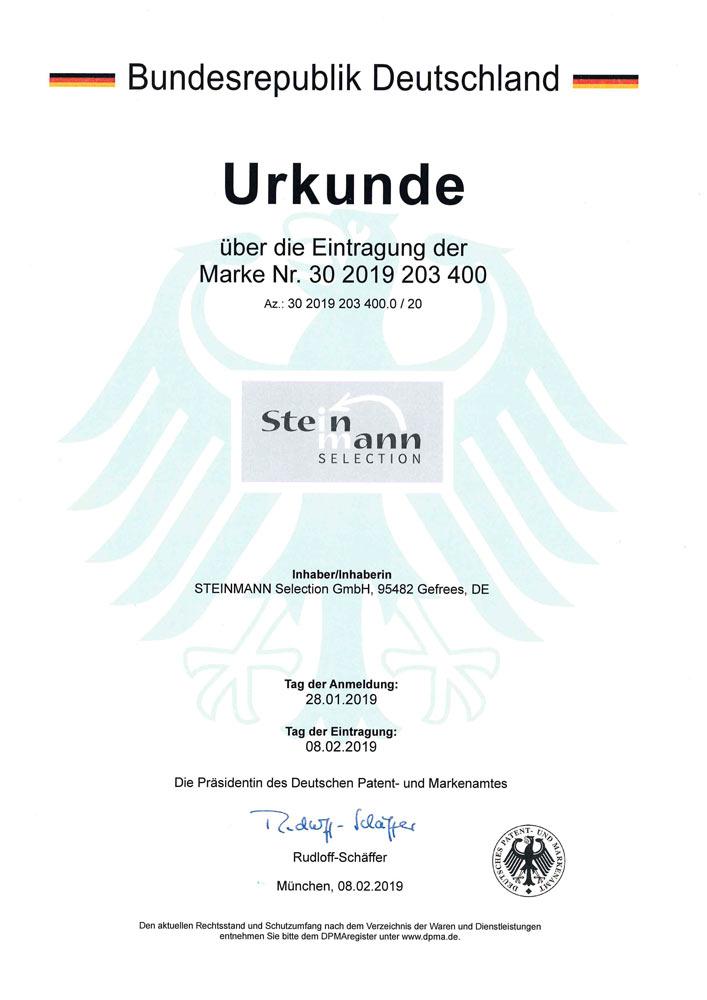 Patenturkunde Steinmann Selection 30 2019 203 400 - Patente