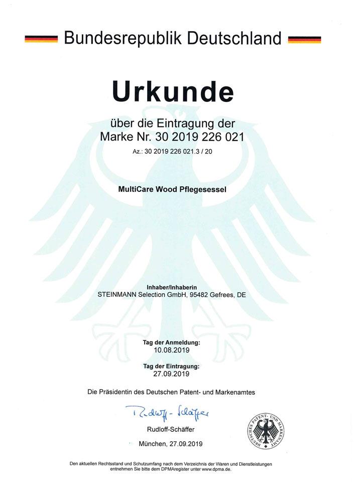 Patenurkunde MultiCare Wood Pflegesessel 30 2019 226 021 - Patente