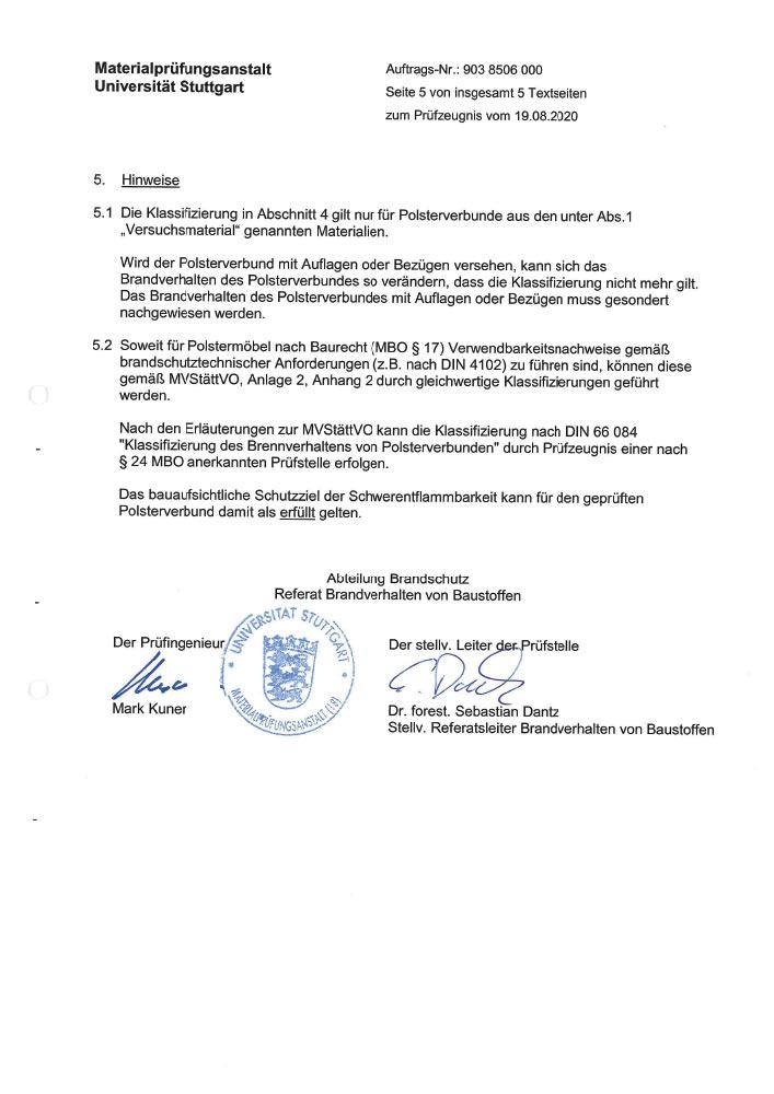 Pruefbericht 9038506000 Polsterverbund MPA Teilauszug 4 - Zertifizierungen