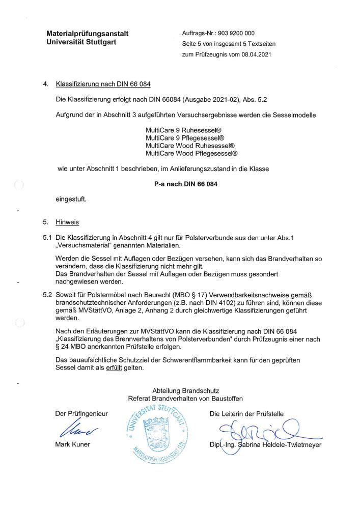 Pruefzertifikat MultiCare 9 MultiCare Wood Pruefberichtnr 903 9200 000 3 - Zertifizierungen