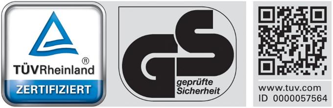 TUEV Rheinland GS 57564 - Zertifizierungen