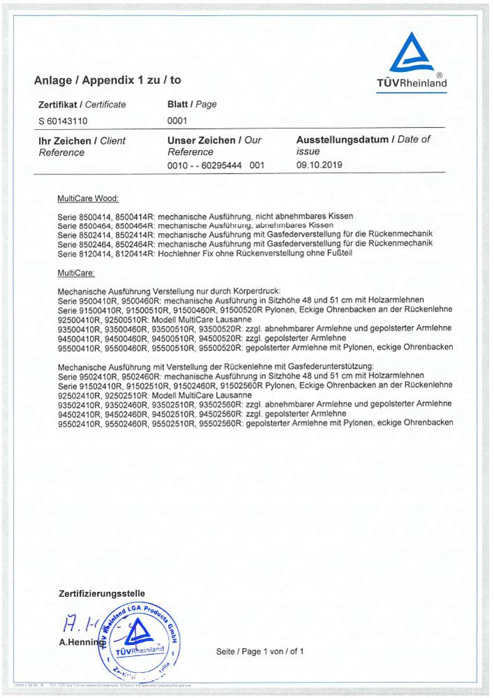 Zertifikat TUEV MultiCare Ruhesessel S 60143110 0001 2 - Zertifizierungen